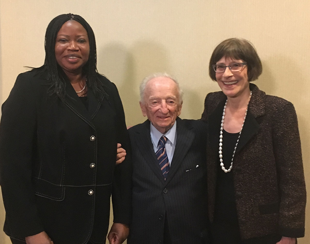 Museum director Sara J. Bloomfield and ICC Prosecutor Fatou Bensouda joined Ben Ferencz, the last surviving Nuremberg prosecutor, to launch the Museum's Ferencz International Justice Initiative.