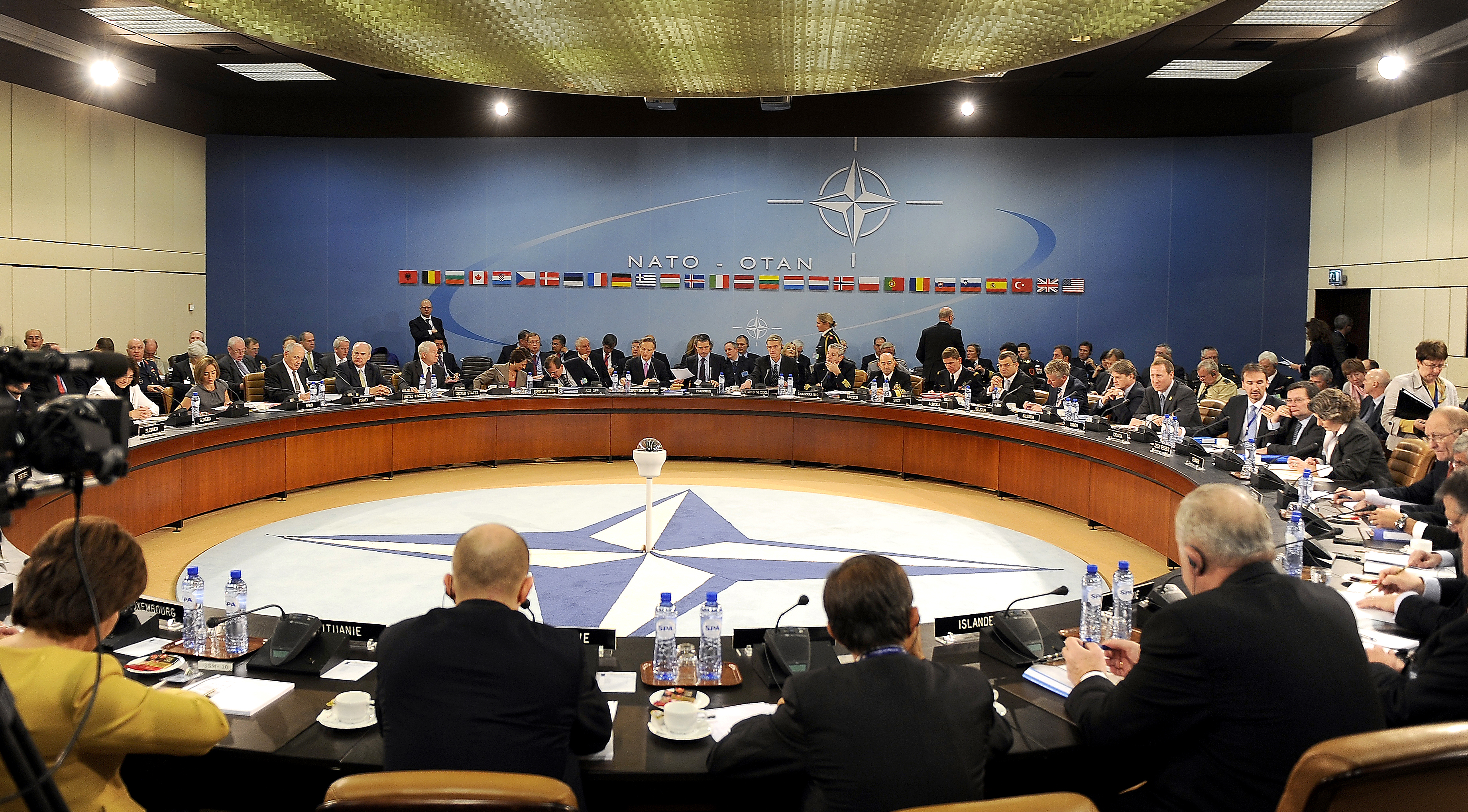 Members of NATO Ministers of Defense and of Foreign Affairs meet at NATO headquarters in Brussels, Belgium. October 14, 2010.