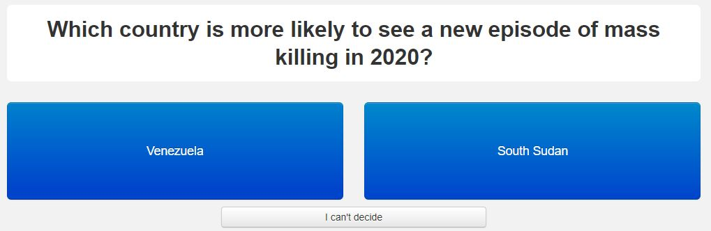 Which country is more likely to see a new episode of mass killing in 2020?