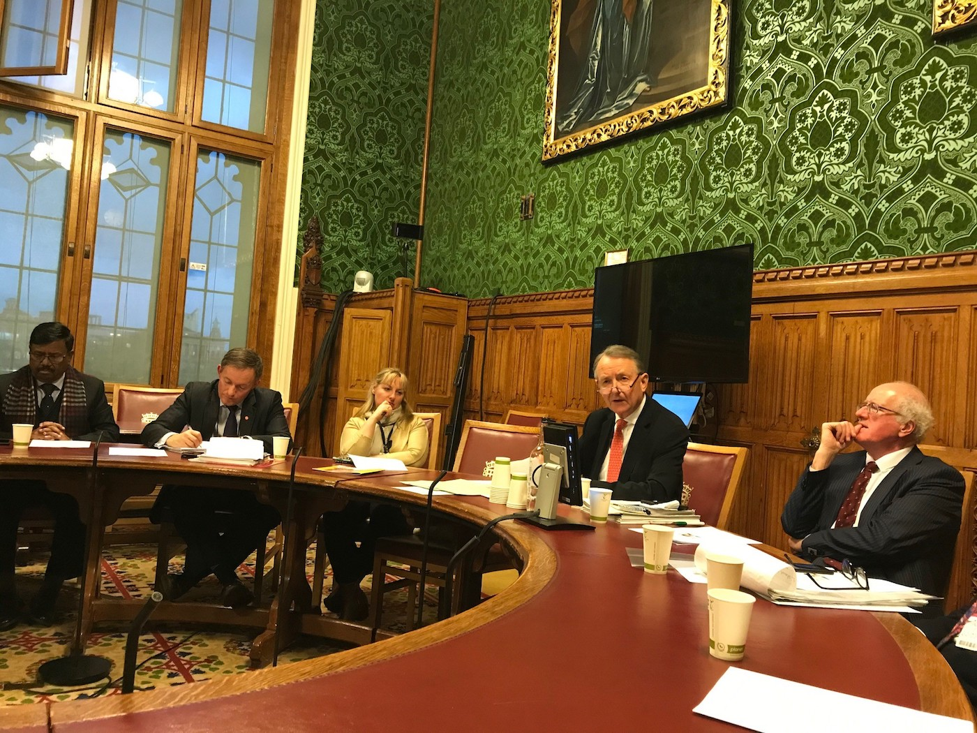 David (Lord) Alton chairing an evidence taking session at the House of Lords on the plight of Uyghurs and the framing of more effective responses to the crime of genocide.