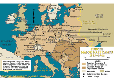Major Nazi Camps in Europe, 1943-1944.