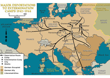 Major deportations to extermination camps, 1942-1944.
