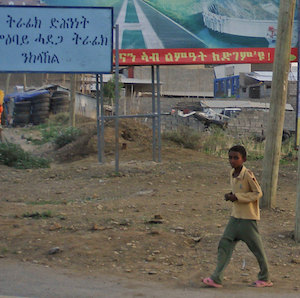A campaign billboard for the EPRDF, Ethiopia's former ruling coalition, next to a 35th anniversary billboard for the TPLF, the Tigrayan regional party that previously dominated the ruling coalition. Tigray Region, 2010.