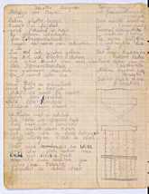 One page from the Kovno diary of Tamara Lazerson. In this entry, Lazerson has transcribed the lyrics of the song By the Ghetto Gate, one of several Yiddish ghetto songs which she recorded in her diary.