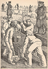 "Former prisoner Jean Kralik's drawing depicting forced labor by ""soldiers of the moor."""