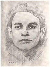 Pencil drawing of Hirsh Glik by Y. Benn.