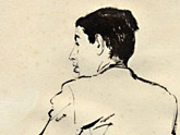Gideon Klein (Theresienstadt, 1943).  Pencil sketch by Petr Kien (1919-1944).