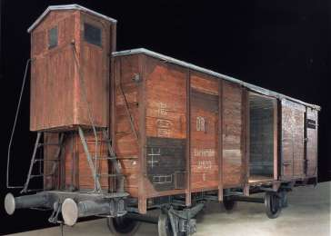 View of the railcar on display in the Permanent Exhibition of the United States Holocaust Memorial Museum.