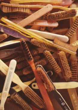 A collection of toothbrushes confiscated from Auschwitz concentration camp prisoners.