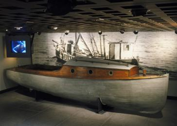 View of the Danish fishing boat in the Museum's Permanent Exhibition.
