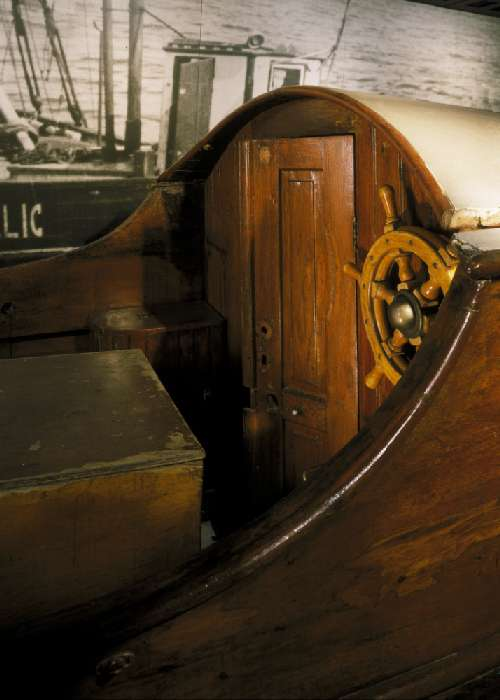 Detail of the Danish fishing boat displayed in the Museum's Permanent Exhibition.