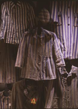 Detail of prisoner uniforms displayed on the second floor of the Permanent Exhibition at the United States Holocaust Memorial Museum.