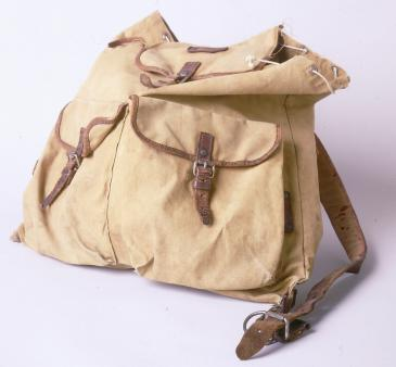 This tan backpack was used by Ruth Berkowitz to carry her belongings as she fled from Warsaw after the outbreak of World War II. Most of her possessions were confiscated by both the Nazis and the Soviets during her journey. [From the USHMM special exhibition Flight and Rescue.]