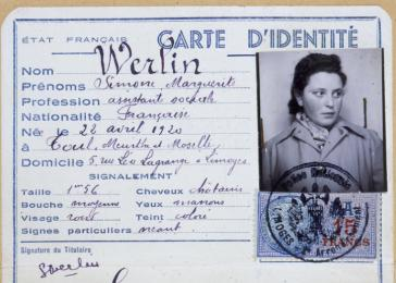 False identification card issued to Simone Werlin, the pseudonym of Simone Weil, stamped with the seal of Chateauroux.