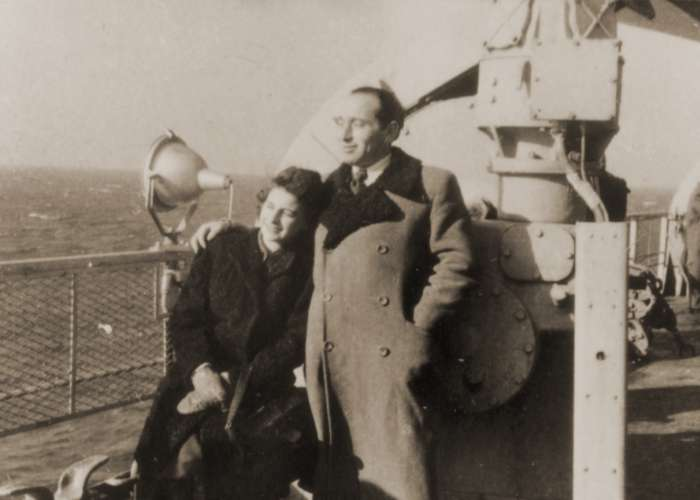 Miles and Chris Lerman travel to the United States aboard the SS <i>Marine Perch</i> in January 1947. <i>US Holocaust Memorial Museum</i>