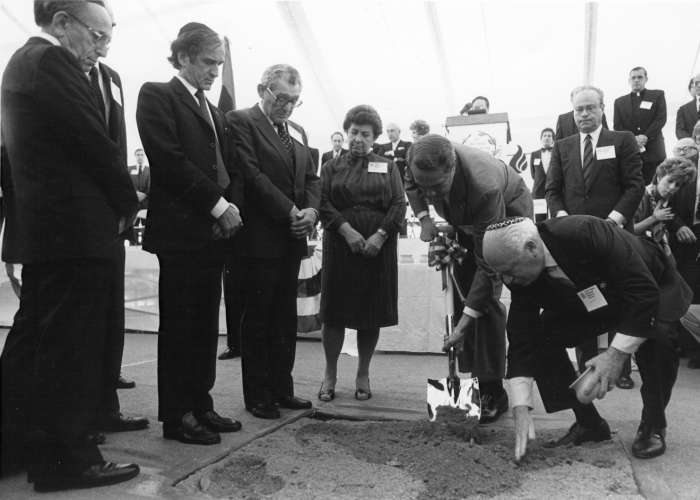 Miles Lerman (left) stands next to Elie Wiesel at the official groundbreaking ceremony held on the site of the future Museum building. October 16, 1985. <i>US Holocaust Memorial Museum</i>