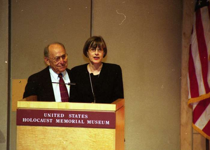 Miles Lerman and Sara Bloomfield speak at a United States Holocaust Memorial Council swearing-in ceremony in the Hall of Remembrance. May 31, 2000. <i>US Holocaust Memorial Museum</i>