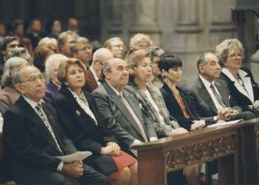 Miles Lerman (front row, left) and members of the United States Holocaust Memorial Council attend the Special Ecumenical Service at the National Cathedral in Washington, DC, on April 18, 1993, to commemorate the opening of the Museum. <i>US Holocaust Memorial Museum</i>