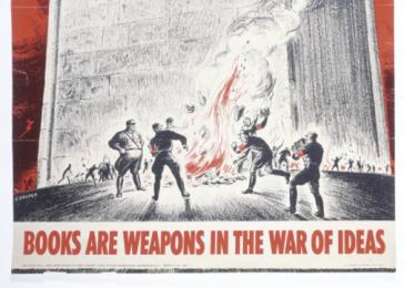 <i>Books Are Weapons in the War of Ideas</i> poster produced by the Office of War Information. This poster featuring a quote from President Roosevelt was one in a series. <i>US Holocaust Memorial Museum</i>