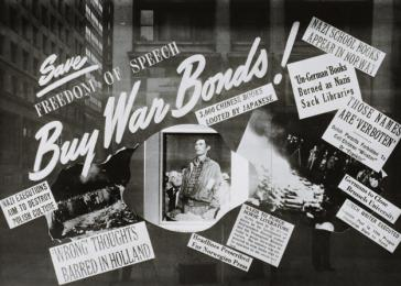 "FDR's 1941 State of the Union speech enunciated the ""Four Freedoms."" In this June 1943 Lord & Taylor's patriotic window display, Norman Rockwell's famous <i>Freedom of Speech</i> poster is used to contrast American values against Nazi book burnings. <i>US Holocaust Memorial Museum, courtesy of Library of Congress</i>"