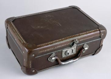 A brown leather suitcase carried by George Pick in Hungary.