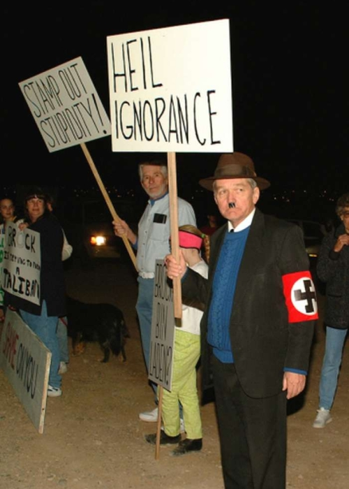Man dressed as Adolf Hitler