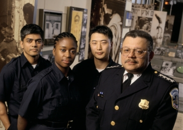 After touring the Permanent Exhibition, Washington, DC, Police Chief Charles Ramsey works with the Museum to create training programs that apply the lessons of the Holocaust to the challenges of law enforcement.
