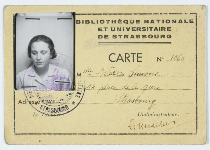 An identity card issued to Simone Werlin (assumed name of Simone Weil) by the Bibliotheque Nationale et Universitaire de Strasbourg.