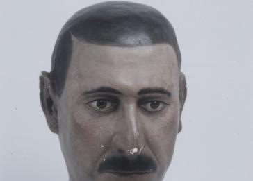 "Heads of racial types, created by anthropologists from plaster molds of the faces of living subjects, were mass-produced in Nazi Germany for use in exhibitions and racial hygiene classes. This head portrays the ""Dinaric"" (Balkan) racial type. <i>Blinden-Museum an der Johann-Agust-Zeune-Schule fur Blinde, Berlin</i>"