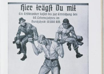 """You Are Sharing the Load! A Hereditarily Ill Person Costs 50,000 Reichsmarks on Average up to the Age of Sixty,"" reproduced in a high school biology textbook by Jakob Graf. The image illustrates Nazi propaganda on the need to prevent births of the ""unfit."" <i>US Holocaust Memorial Museum</i>"