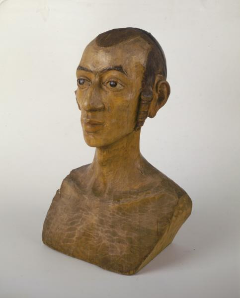 The head of a Jewish youth was sculpted from wood by the Jewish artist M. Winiarski for German officials in the occupied Polish city of Lodz. <i>US Holocaust Memorial Museum, courtesy of Zydowski Instytut Historyczny imienia Emanuela Ringelbluma</i>