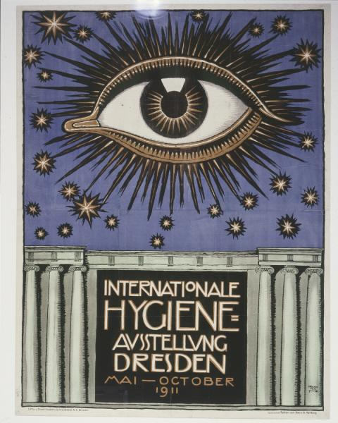 International Hygiene Exhibition, 1911 promotional poster: The eugenics movement pre-dated Nazi Germany. A 1911 exhibition at the German Hygiene Museum in Dresden included a display on human heredity and ideas to improve it. <i>Deutsches Historisches Museum, Berlin</i>