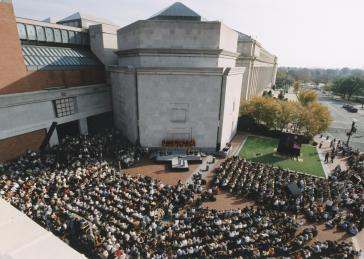 "Eisenhower Plaza during a ceremony at the U.S. Holocaust Memorial Museum ""Tribute to Survivors: A Reunion of a Special Family,"" November 1-2, 2003."