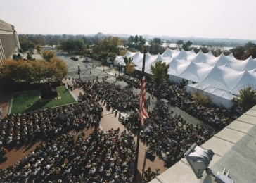 "Crowds on Eisenhower Plaza during a ceremony at the U.S. Holocaust Memorial Museum ""Tribute to Survivors: A Reunion of a Special Family,"" November 1-2, 2003."