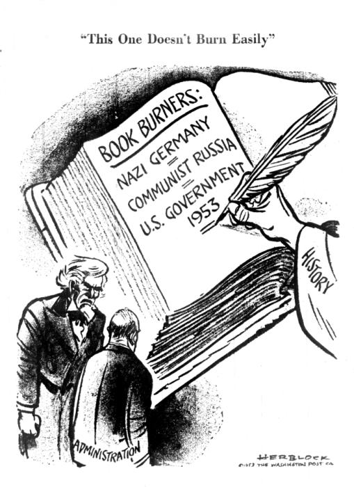 "Herblock, ""This One Doesn't Burn Easily,"" <i>Washington Post</i>, June 18, 1953. <i>US Holocaust Memorial Museum, courtesy of Library of Congress</i>"