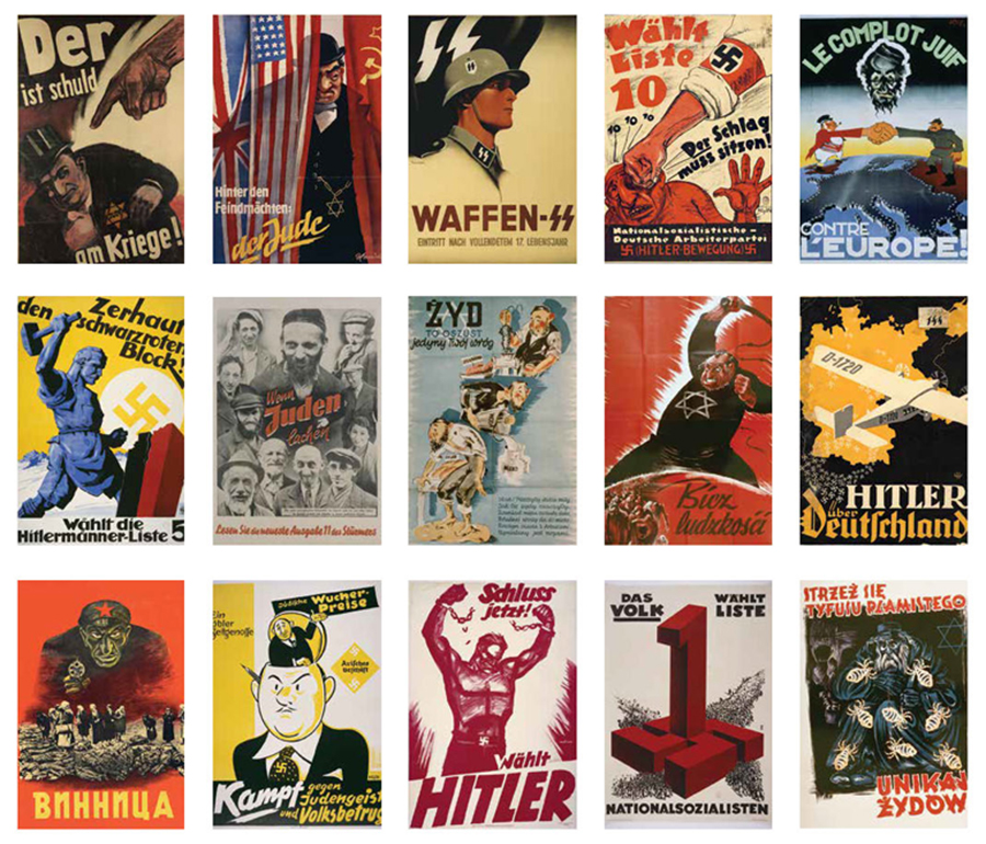 Propaganda posters used to promote the Nazi Party and its antisemitic agenda.