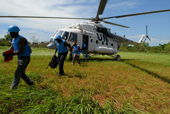 UN peacekeepers on assignment in East Africa, April 2009.