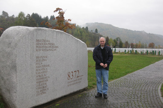 Michael Dobbs at Srebrenica-Potočari Memorial and Cemetery for the Victims of the 1995 Genocide.