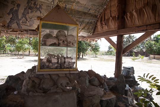 Remains from a mass grave in Cambodia's Kampong Chhnang province are now part of a memorial near the grave site.