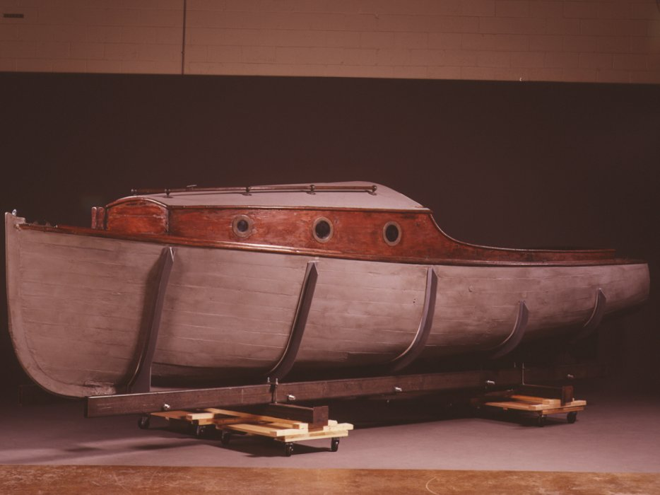 Side view of the Danish rescue boat on the second floor of the Permanent Exhibition at the United States Holocaust Memorial Museum.