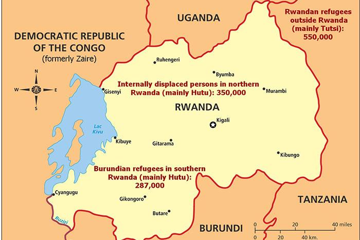 The Rwandan Refugee Crisis Map United States Holocaust Memorial - Rwanda map