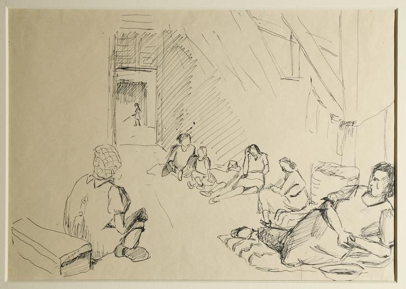 1988.1.33 front Drawing of women sitting inside barracks by a German Jewish internee
