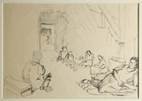 1988.1.33 front Drawing of women sitting inside barracks by a German Jewish internee  Click to enlarge