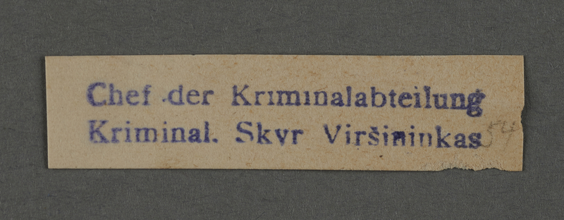 1995.89.1010 front Department stamp impression for the Chief of the Criminal Department in the Kovno ghetto