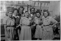 RG-60.0676_Lilly and her sisters with US soldiers Orphans of Buchenwald; Ex-Prisoners Coming Home  Click to enlarge