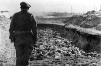 Rev Leslie Hardman in Belsen Jewish Service at Belsen  Click to enlarge