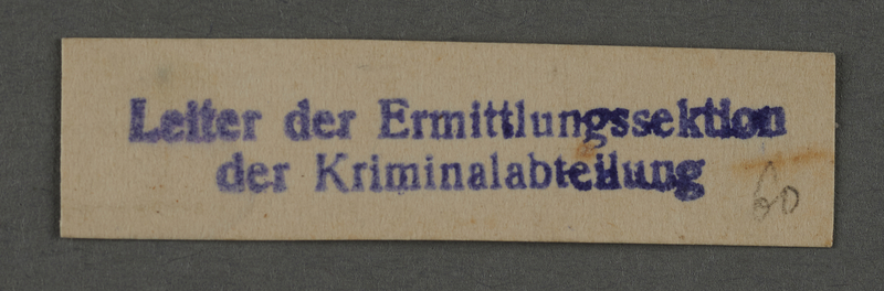 1995.89.1015 front Ink stamp impression from an administrative department of the Kovno ghetto