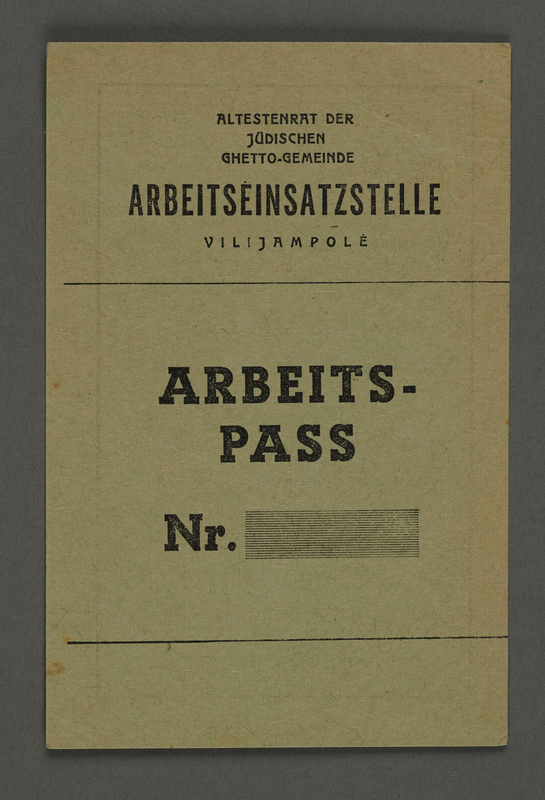 1995.89.102 front Work pass from the Kovno ghetto