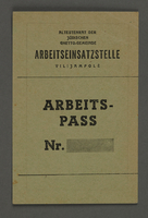1995.89.102 front Work pass from the Kovno ghetto  Click to enlarge