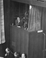 Sound recordist Edmund Glaser in the Nuremberg courtroom Freezing experiments presented at Medical trial  Click to enlarge